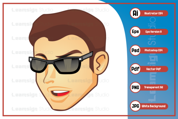 Print on Demand: Cool Guy Head Wearing Sunglass Design Graphic Icons By leamsign