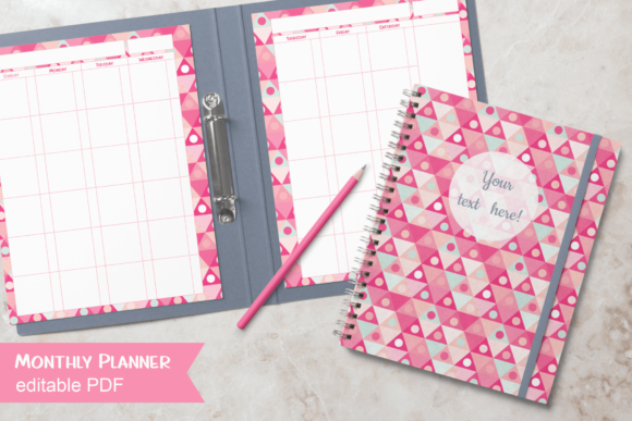 Print on Demand: DIY Pink Monthly Planner Editable PDF Graphic Print Templates By print.cut.hang