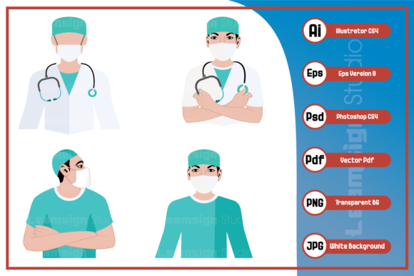 Print on Demand: Doctor Medical Team Design Graphic Icons By leamsign