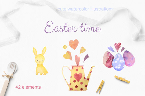 Print on Demand: Easter Time. Set of Watercolor Elements Graphic Illustrations By Natalia Arkusha
