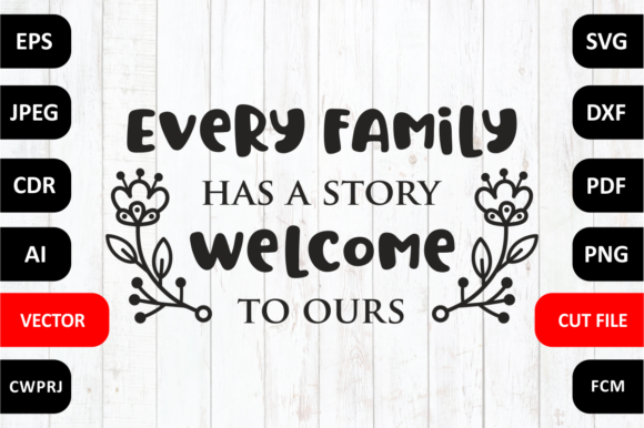 Every Family Has A Story Welcome To Ours Family Quote Cut File