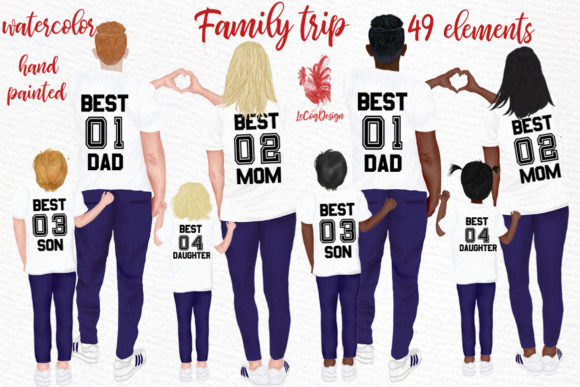 Family Clip Art Parents and Kids Graphic Illustrations By LeCoqDesign