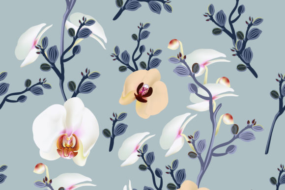 Fashion Vector Pattern with Orchids Graphic Patterns By fleurartmariia