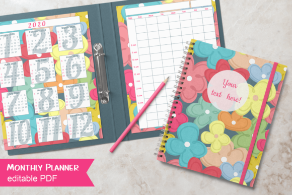 Print on Demand: Flowers Monthly Planner for Teachers Graphic Print Templates By print.cut.hang