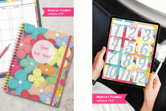 Download Free Flowers Monthly Planner For Teachers Grafico Por Print Cut Hang for Cricut Explore, Silhouette and other cutting machines.