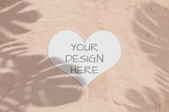 Print on Demand: Heart Valentine Mockup with Shadow Graphic Product Mockups By Natalia Arkusha