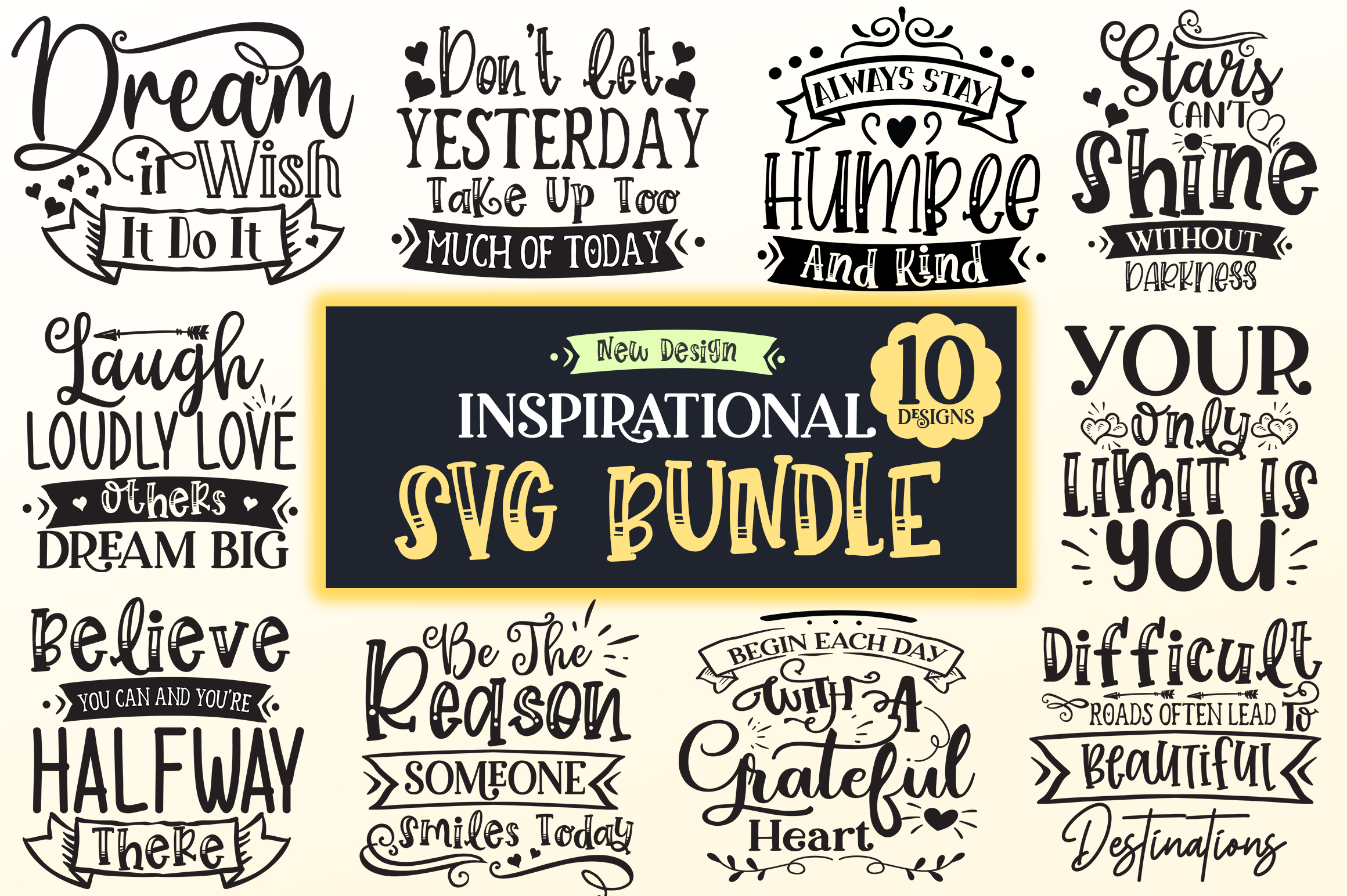 Download Free Inspirational Design Bundle Graphic By Designfarm Creative Fabrica for Cricut Explore, Silhouette and other cutting machines.