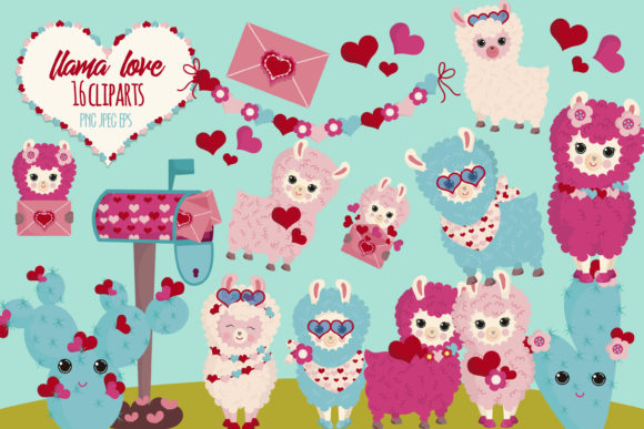Llama Valentine Graphic Illustrations By CuteLittleClipart - Image 1