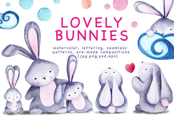 Lovely Bunnies-watercolor Collection Graphic Illustrations By Vera Vero - Image 1