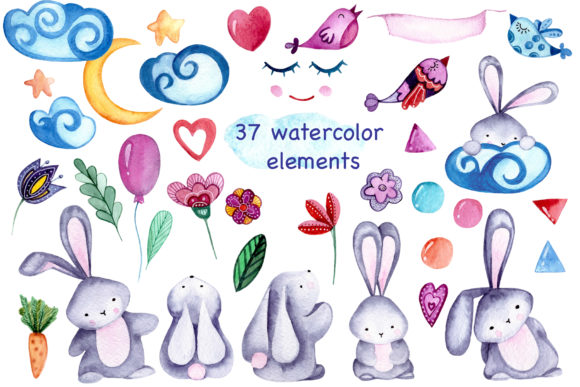 Lovely Bunnies-watercolor Collection Graphic Illustrations By Vera Vero - Image 10