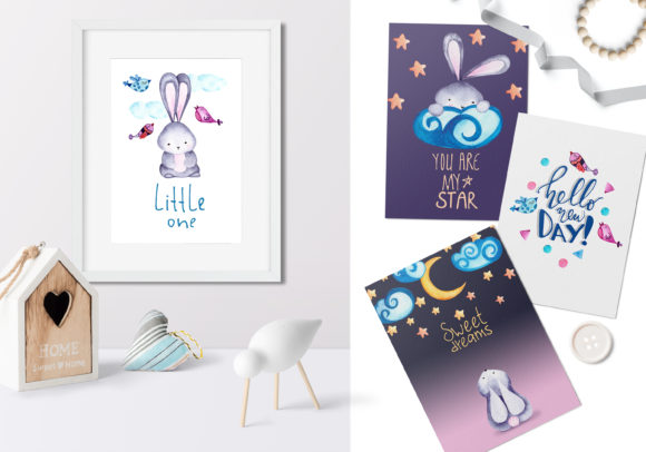 Lovely Bunnies-watercolor Collection Graphic Illustrations By Vera Vero - Image 2