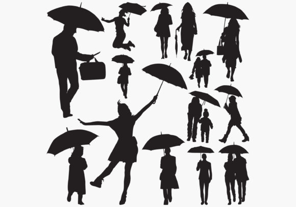 Download Free Man Hold Umbrella Silhouettes Graphic By Octopusgraphic for Cricut Explore, Silhouette and other cutting machines.