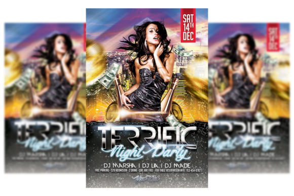 Print on Demand: Night Party Flyer Graphic Print Templates By Matthew Design