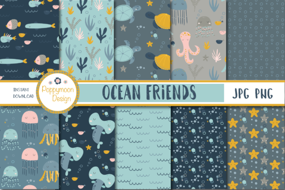 Print on Demand: Ocean Friends Paper Graphic Patterns By poppymoondesign