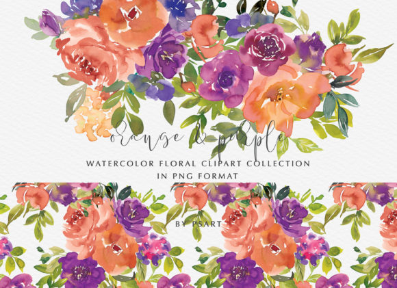 Orange & Purple Watercolor Flowers Set Graphic Illustrations By Patishop Art
