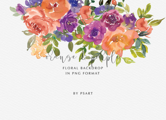 Download Free Orange Purple Watercolor Flowers Set Graphic By Patishop Art for Cricut Explore, Silhouette and other cutting machines.