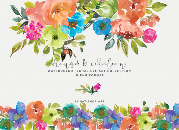 Orange and Cerulean Watercolor Florals Graphic Illustrations By Patishop Art