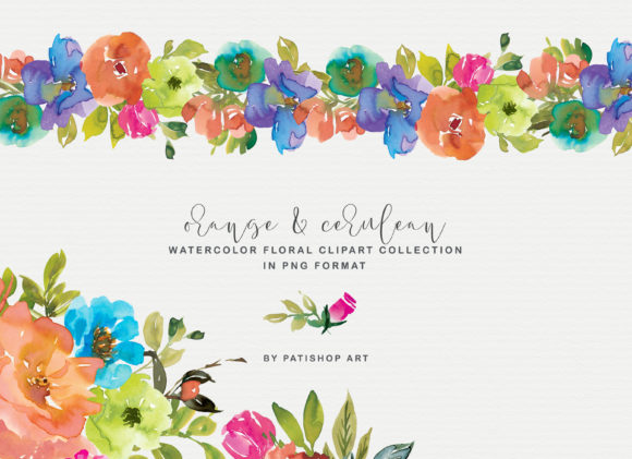Orange and Cerulean Watercolor Florals Graphic Illustrations By Patishop Art - Image 3
