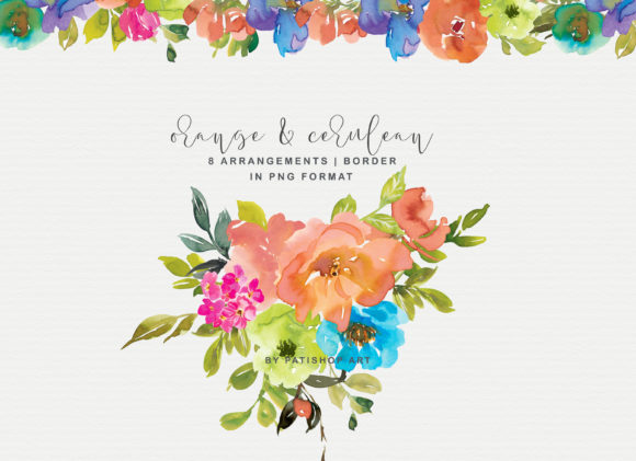 Orange and Cerulean Watercolor Florals Graphic Illustrations By Patishop Art - Image 4