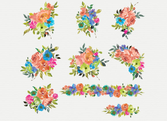 Orange and Cerulean Watercolor Florals Graphic Illustrations By Patishop Art - Image 5