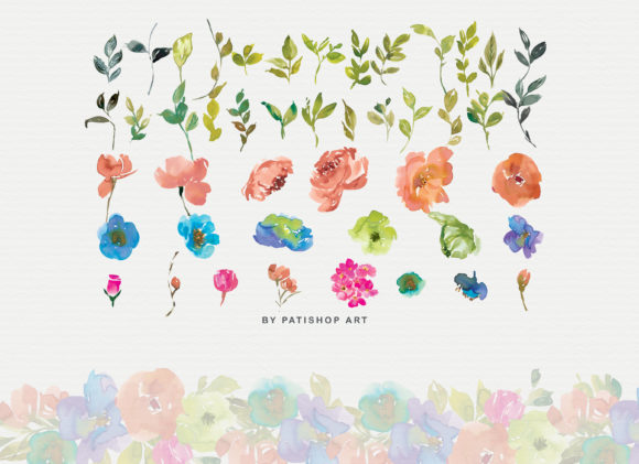 Orange and Cerulean Watercolor Florals Graphic Illustrations By Patishop Art - Image 7