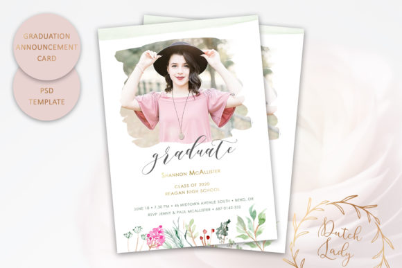 Download Free Psd Graduation Announcement Card 9 Graphic By Daphnepopuliers Creative Fabrica for Cricut Explore, Silhouette and other cutting machines.