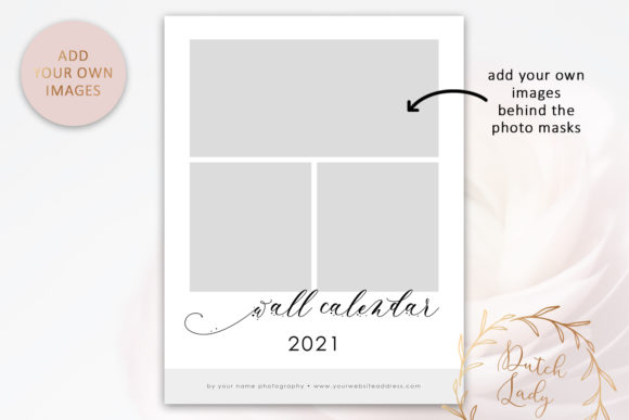 Download Free Psd Photo Calendar Template 2021 1 Graphic By Daphnepopuliers for Cricut Explore, Silhouette and other cutting machines.