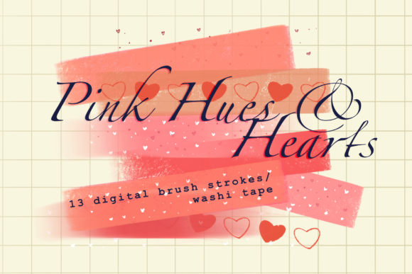 Print on Demand: Pink Hues and Hearts Brush Strokes Graphic Backgrounds By Tubiganart