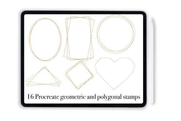 Print on Demand: Procreate Geometric Frames Stamps Graphic Add-ons By DigitalPencilMagic