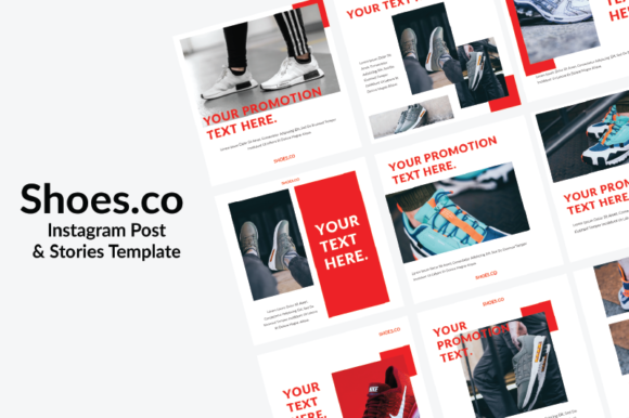 Print on Demand: Shoes.co Instagram Template Graphic Graphic Templates By nirmala.graphics