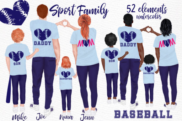 Sport Family Clipart, Baseball Mom Graphic Illustrations By LeCoqDesign - Image 1