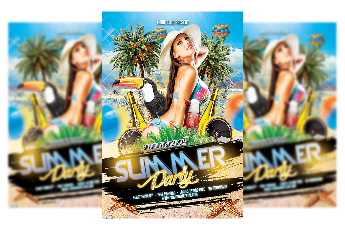 Download Free Summer Party Flyer Template 3 Graphic By Matthew Design for Cricut Explore, Silhouette and other cutting machines.