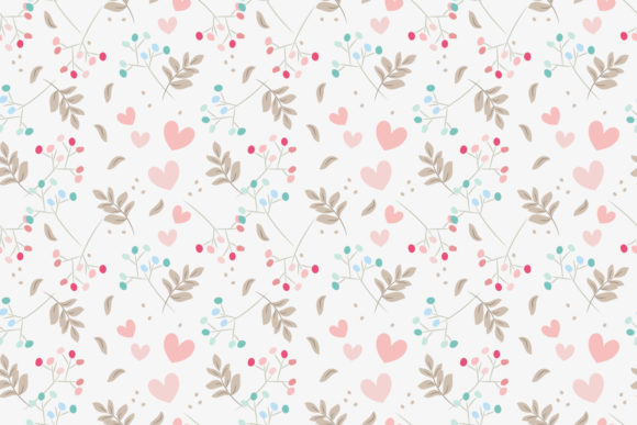 Sweet Floral and Tiny Heart Seamless Graphic Patterns By thanaporn.pinp