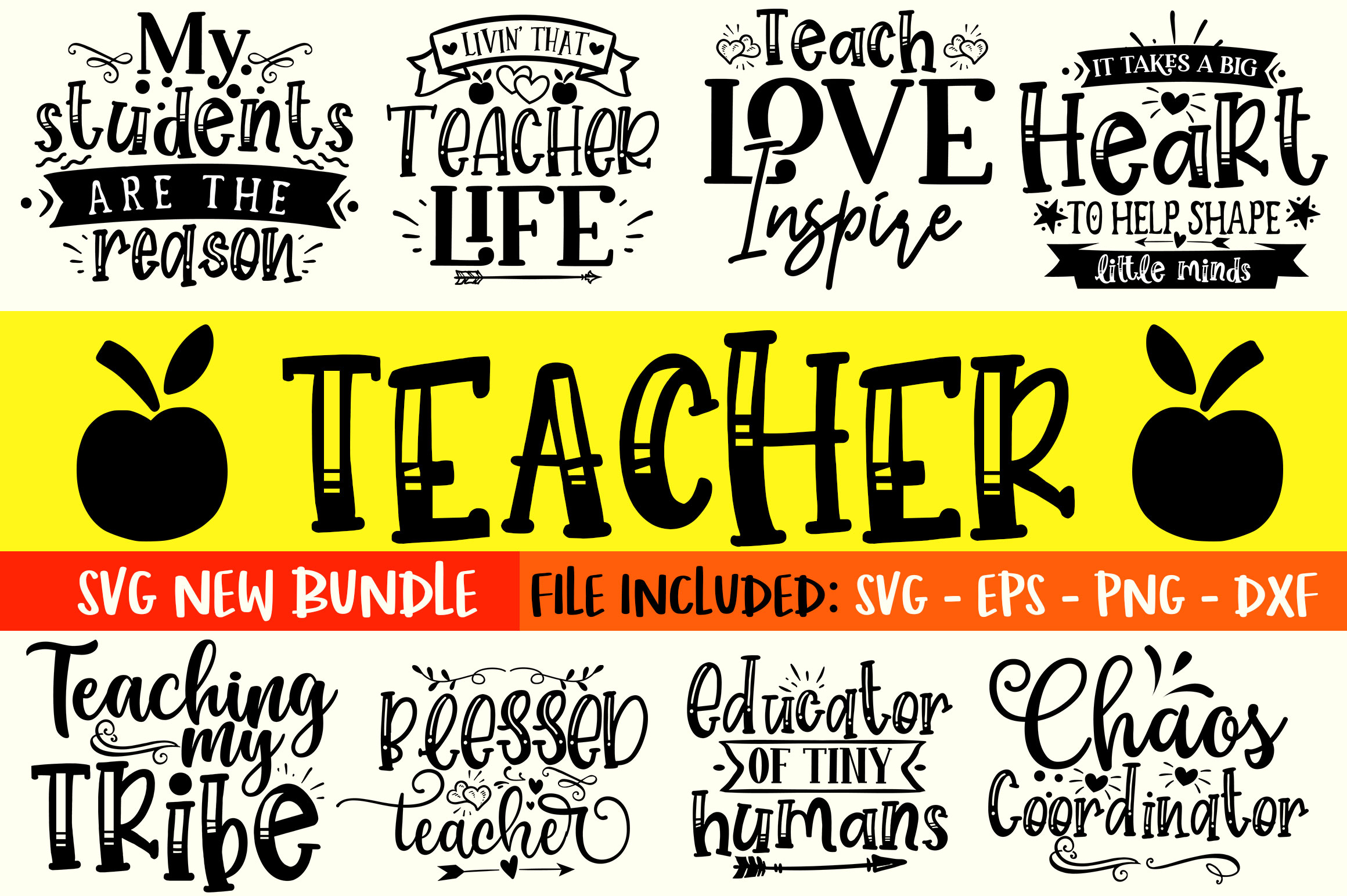 Download Free Teacher Design Bundle Graphic By Orindesign Creative Fabrica for Cricut Explore, Silhouette and other cutting machines.