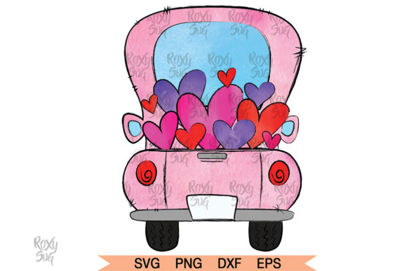 Print on Demand: Valentine Truck, Back of Truck Graphic Crafts By roxysvg26 - Image 1