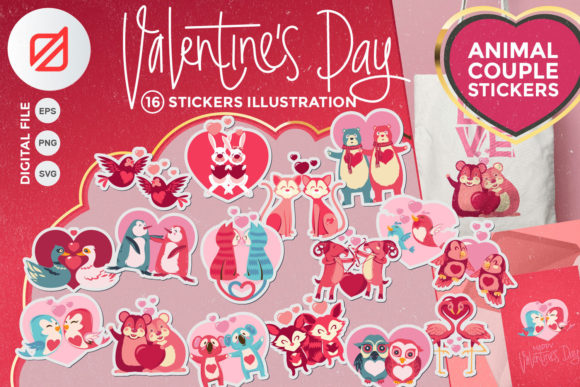 Print on Demand: Valentine's Day Animal Couple Stickers Graphic Illustrations By illusatrian