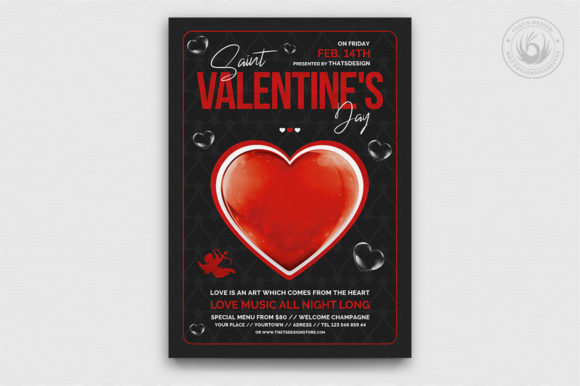 Valentines Day Flyer Template V24 Graphic Print Templates By ThatsDesignStore - Image 1