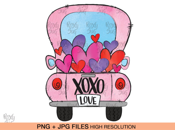 Print on Demand: Valentines Day, Valentine Truck Clipart Graphic Crafts By roxysvg26