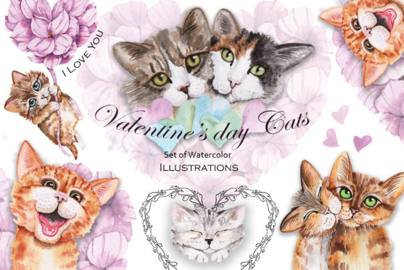 Print on Demand: Valentine's Day Watercolor Cats Gráfico Ilustraciones Por tanatadesign