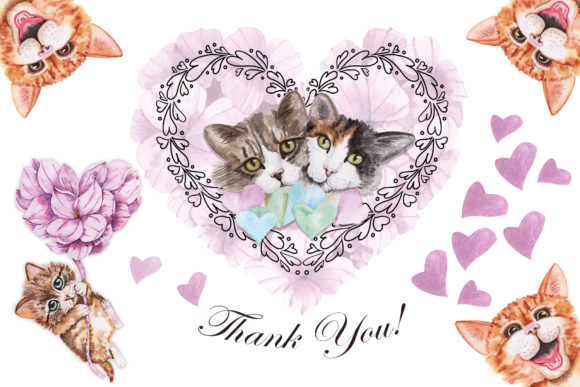 Valentine's Day Watercolor Cats Graphic Graphic
