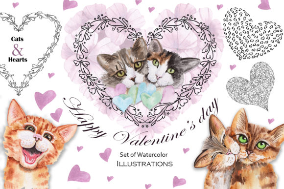 Valentine's Day Watercolor Cats Graphic Download