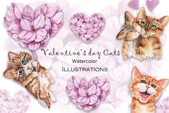 Valentine's Day Watercolor Cats Graphic Item