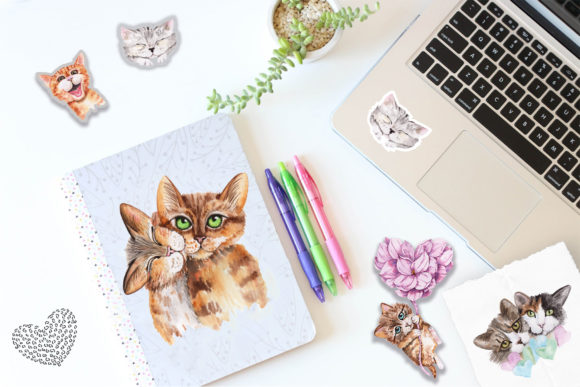 Print on Demand: Valentine's Day Watercolor Cats Graphic Illustrations By tanatadesign - Image 4