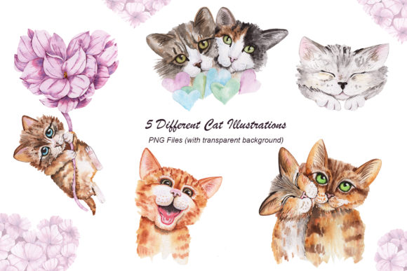 Valentine's Day Watercolor Cats Graphic Preview