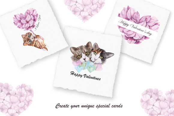 Valentine's Day Watercolor Cats Graphic Downloadable Digital File