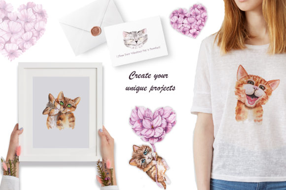 Valentine's Day Watercolor Cats Graphic Popular Design