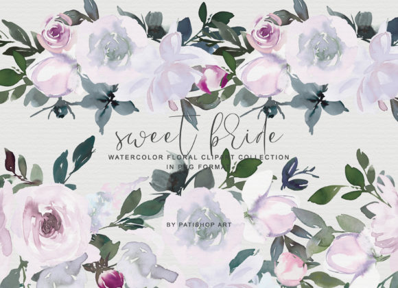 White Pink Watercolor Floral Clipart Set Graphic Illustrations By Patishop Art - Image 2