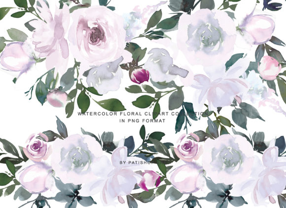 White Pink Watercolor Floral Clipart Set Graphic Illustrations By Patishop Art - Image 3