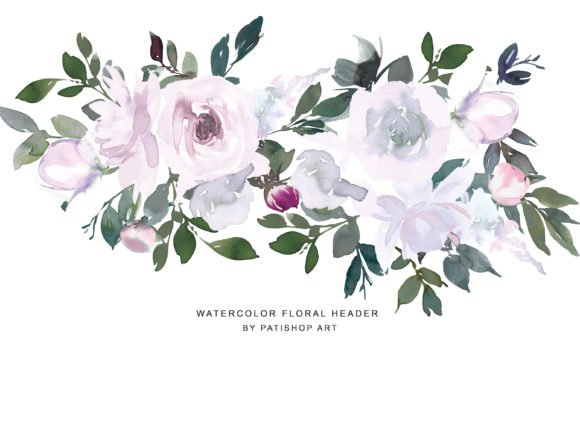 White Pink Watercolor Floral Clipart Set Graphic Illustrations By Patishop Art - Image 4