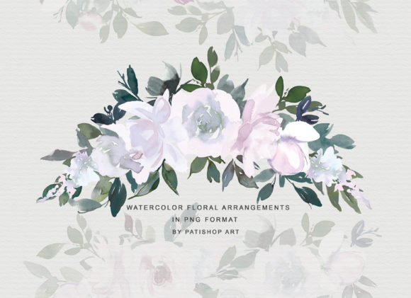 White Pink Watercolor Floral Clipart Set Graphic Illustrations By Patishop Art - Image 6